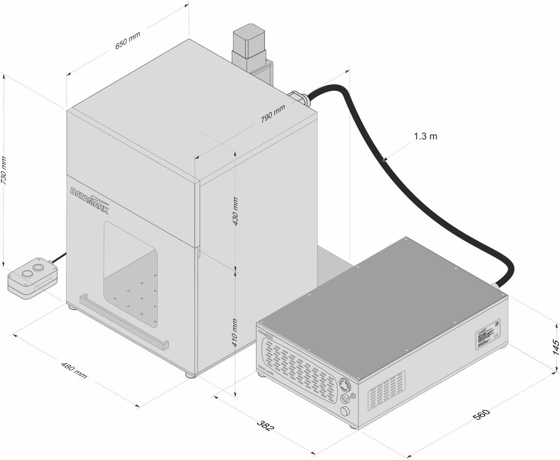 Fiber laser XL marking machine dimensions